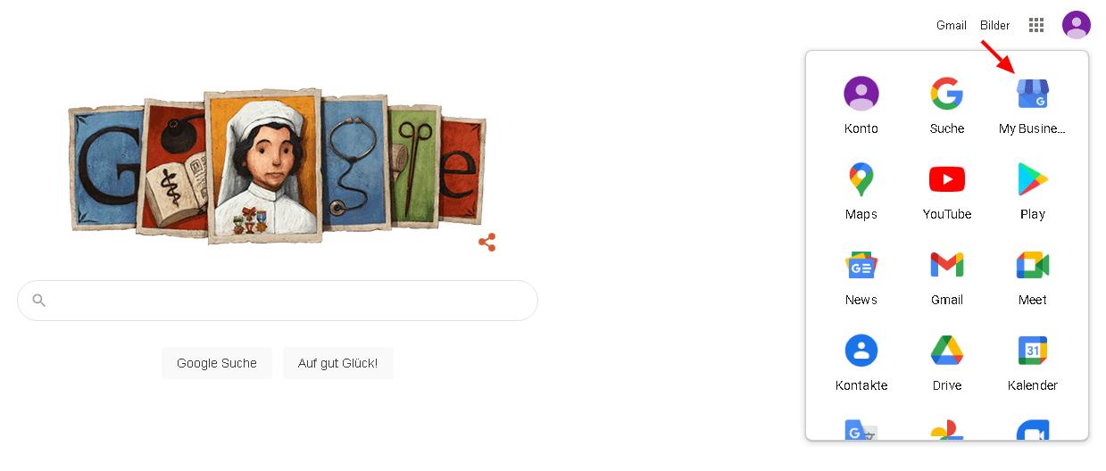 Screenshot: Zur Anmeldung bei Google My Business