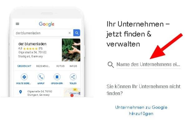 Screenshot: Unternehmen in Google My Business finden und verwalten